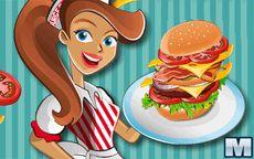 Arbeite in einem Hamburgerstand